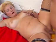 Fat mature in black stockings gets naughty with her stepson and rides his your pecker