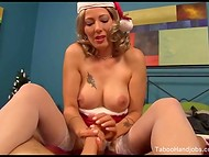 Booty Zoey Holloway prefers giving a really good handjob to her friend on Christmas