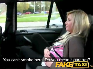 Succulent snatch of the young blonde chick fucked hard by FakeTaxi driver