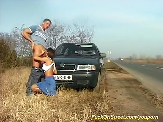 European MILF makes hot love to her hungry boyfriend near the public road