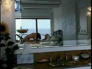 Винтажное порно видео показывает страстную постельную сцену волосатого мужика и умелой брюнетки 3