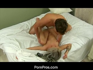 Beautiful blondie gets pounded in her tight cunt