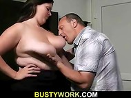 Handsome colleague takes big fat bitch from back in the office during the lunch break