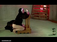 MILF nun get spanked and fucked by giant wooden dildo by a strong priest