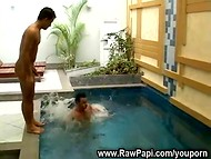 Passionate assfucking gay action by two hot Latina boyfriends by the poolside  11