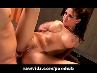 Brunette Tori Lane fucks wildly her sex partner, swallows his cock and gets cum on face