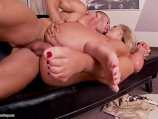 Man licks feet and fucks this zealous blonde bombshell with big boobs and hot ass