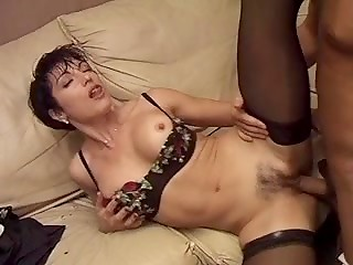 Italian MILF in stockings gets assfucked after vaginal docking with the strong husband's cock