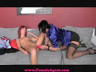 FemaleAgent: red-haired Anna licks agent's pussy fast and hard