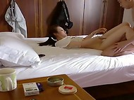 Asian couple defiant to film their first homemade scene fucking in the missionary position 11