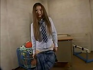 Asian whore was left alone in the classroom with a skin colored dildo 7