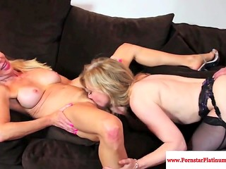 Mature beauties Erica Lauren and Nina Hartley fuck young guy together