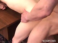 Serious and strong boss fucks slave's mouth, asshole and comes in his handsome face 8