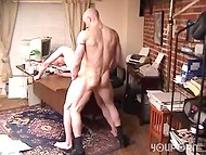 Serious and strong boss fucks slave's mouth, asshole and comes in his handsome face 9