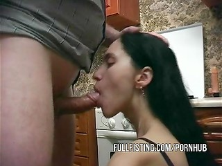 Horny brunette MILF masturbates in the kitchen till takes erected stranger's cock in her hungry mouth