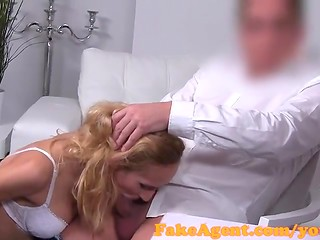 Young blonde with shaved honey pot gets facialized by fake agent's dick after sex in the casting