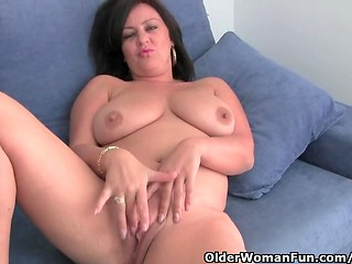Big fat chick undresses and gets her pussy masturbated and her clit caressed by cameraman's fingers