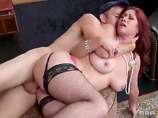 Red-haired slut with amazing boobs getting her ass drilled by robber at jewelry store