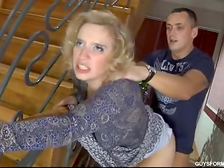 Russian blonde lady with curly hair gets fucked by rough guy