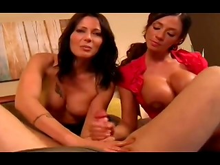 Two chicks with big melons Zoey Holloway and Ariella Ferrera give guy amazing handjob