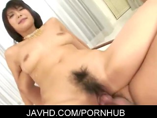 Attractive Japanese Azume Harusaki swallows fresh hot cum with pleasure after group sex