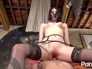 Kinky babe in black stockings gets pounded in hardcore style by a rough fellow