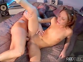 Seductive redhead babe gets penetrated anally before swallows his tasty cum