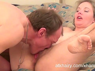 Mature Russian couple having sex, wife getting her hairy twat fucked hard as hell