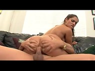 Nasty bitch takes off sexy shorts and shows her tanned body before crazy anal fucking