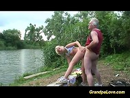 Granda fucking a young sexy blonde in the public park and helping her to reach multiple orgasms