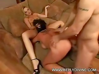 Blonde and brunette whores make their pussies wet and meet their hard fucker