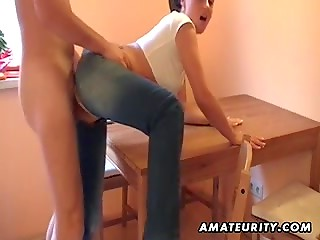 Nasty amateur girl gets fucked through a hole in her jeans