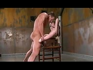 Little brunette slut gets tied up and fucked hard by strong dick with gag in her mouth 7