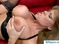 Crazy-hot mature lady with huge boobs fucked by horny lover on the sofa 9