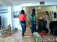 A crowd of young hot lesbians gone wild with huge number of long dildos 8
