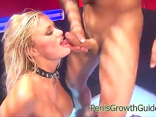 Unrepeatable busty blonde MILFs fuck handsome porn actor with huge cock in the striptease bar