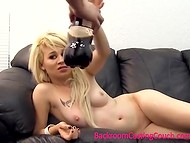 Blonde babe takes part in the casting and demonstrates a high-class blowjob on camera