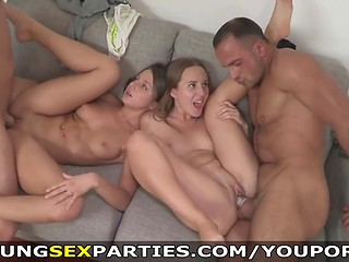 Two horny Russian couples decided to try a foursome sex