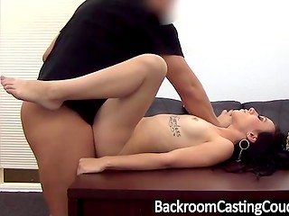 Naughty tattooed brunette got hammered by her employer, when she came to try out for new job