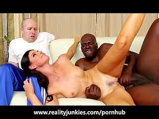 Muscular ebony coach fucks gorgeous India Summer while her husband watches