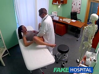 FakeHospital: brunette wife cheating on her husband with doctor in his cabinet