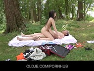 Randy old man fucks hard brunette teen with wet cunt at the white mat on the picnic