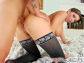 Nasty lady in beautiful stockings takes dick in ass without preparation