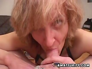 Mature whore with pierced clit gives BJ then cleans dick with her tongue