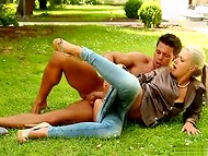 Teenage horny blonde with big ass seduces young muscular gardener in the fresh air 8