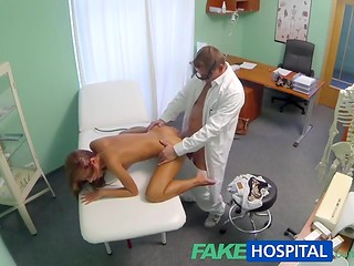 Slender babe came for the medical examination, which becomes really delightful