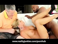 Extremely hot blonde MILF Krystal Summers fucks big black cock in front of her credulous husband