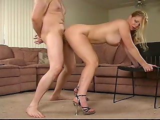 Big-boobed darling gives a deep blowjob in order to make her friend happy