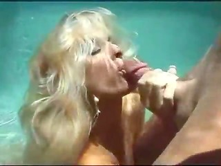 Crazy young bitches work hard to make their boyfriends cum in the pool and to catch sperm in the water