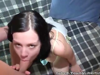 Amateur dark-haired girl swallows unloaded jizz with smile
